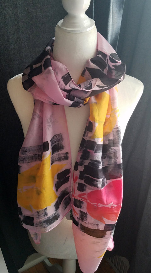 Hand Printed Silk Scarf - Dashes & Flowers