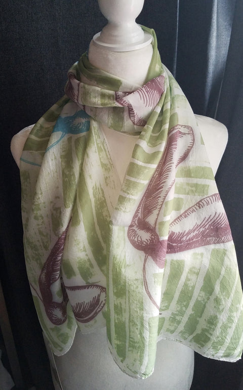 Hand Printed Silk Scarf - Green Whirligig