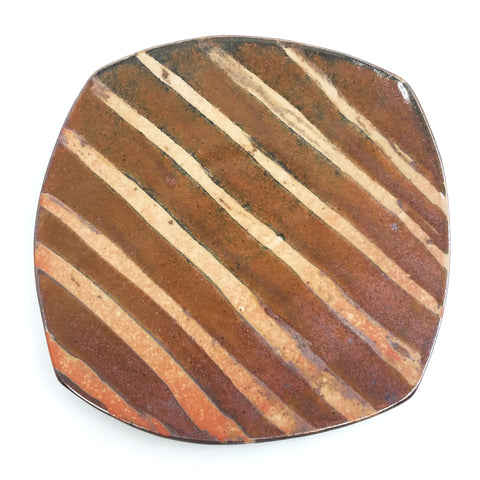 Large Plate - Brown Stripe