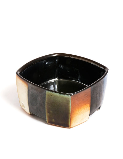 Squared stoneware salt-fired bowl with black glaze and geometric pattern handmade by David Crane.