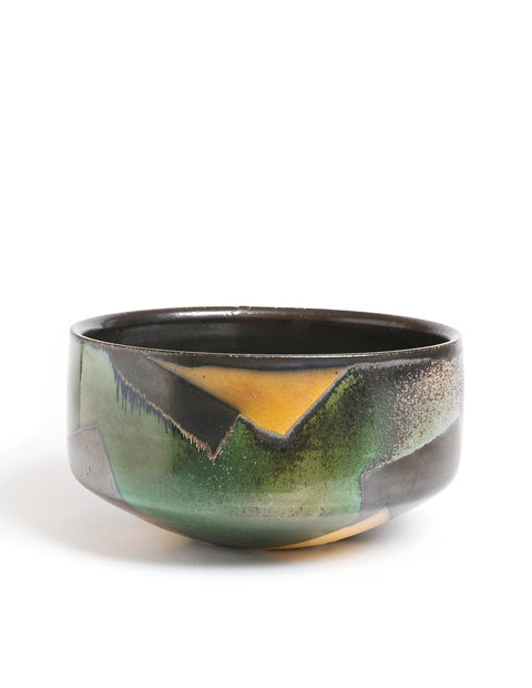 Large stoneware salt-fired dough bowl with black glaze and geometric pattern handmade by David Crane.