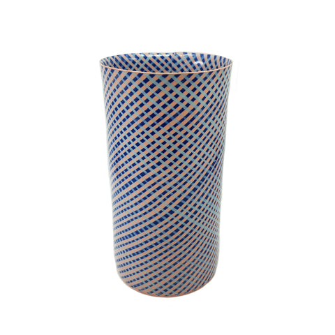 Blue and Pink Woven Grass Vase