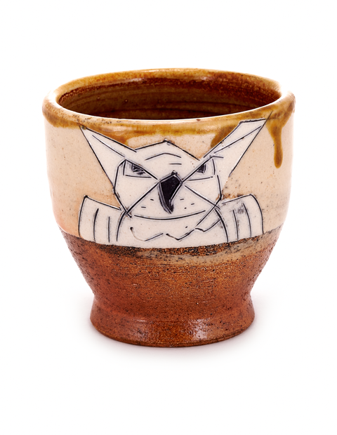 Soda-fired stoneware yunomi cup with owl drawing and scrafito lines handmade by Matthew Krousey.