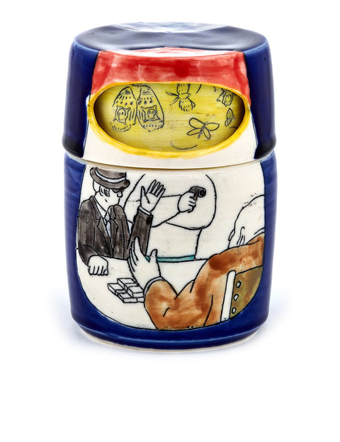 Lidded porcelain container with mishima drawings handmade by artist Momoko Usami