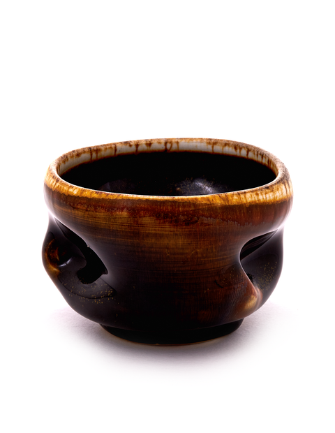 Wheel thrown whiskey cup wood-fired with atmostpheric flashing and glaze handmade by artist Chris Gustin.