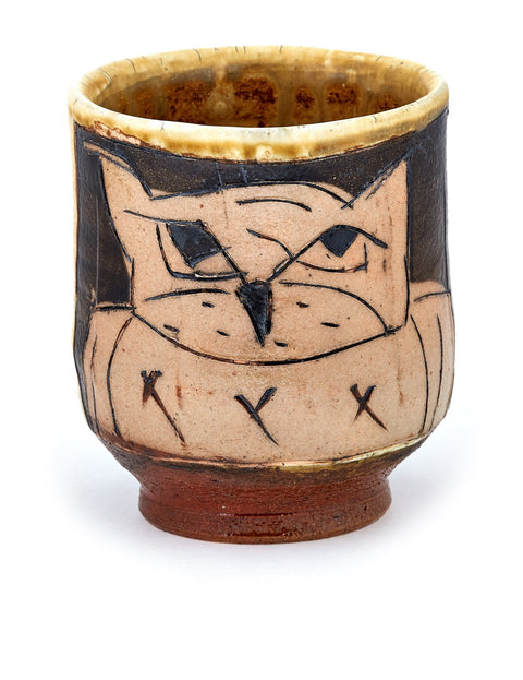 Soda-fired stoneware yunomi cup with owl drawing handmade by Matthew Krousey.