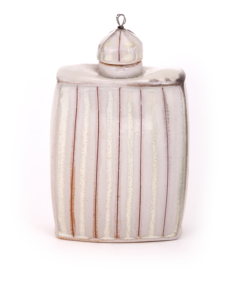 Squared porcelain flask with glazed inlay lines handmade by Lorna Meaden.