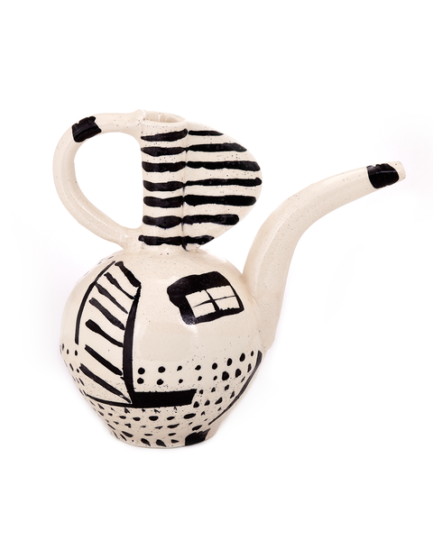 Black and white earthenware ewer handmade by Mike Helke.