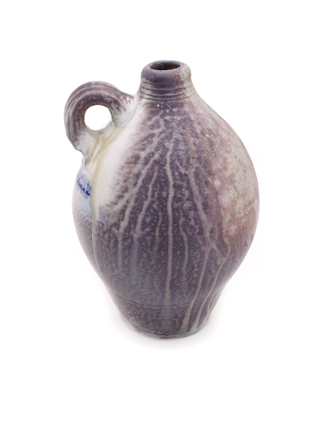 Anagama fired heavy ash glazed jug handmade by Nick Schwartz.