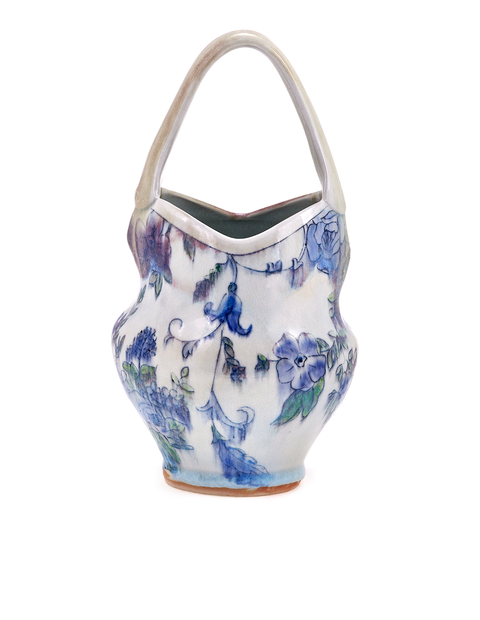Porcelain mishima darted basket with floral drawings handmade by Katie Susko.
