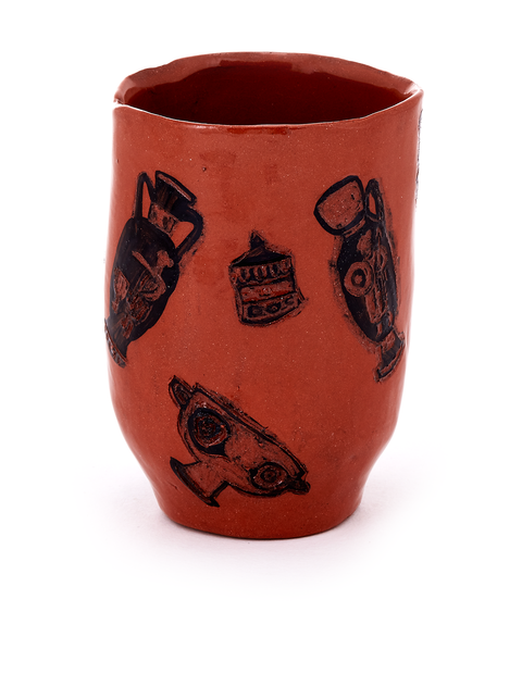 Terra cotta yunomi cup with drawings of ancient greek pottery handmade by artist Molly Ann Bishop.
