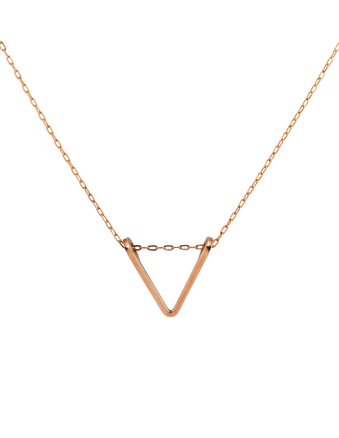 Delicate gold fill triangular charm necklace handmade by Lisa Slodki.
