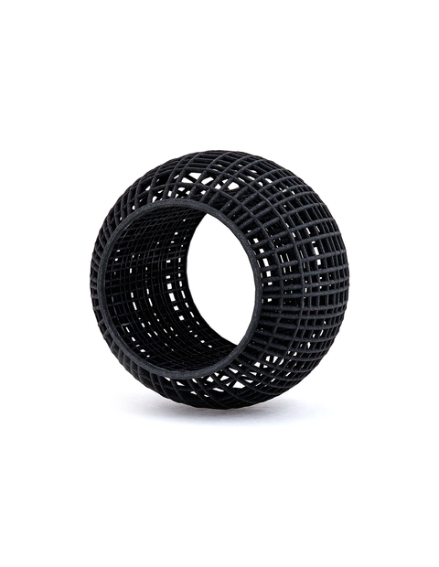 3D printed black nylon cage bangle bracelet handmade by artist Maria Eife.