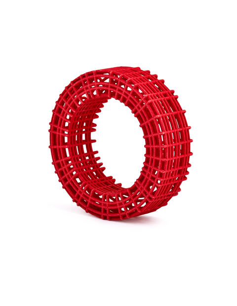 3D printed red nylon cage bangle bracelet handmade by artist Maria Eife.
