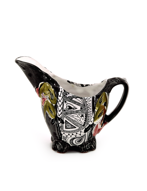 Handpainted terra cotta pitcher handmade by Posey Bacopoulos
