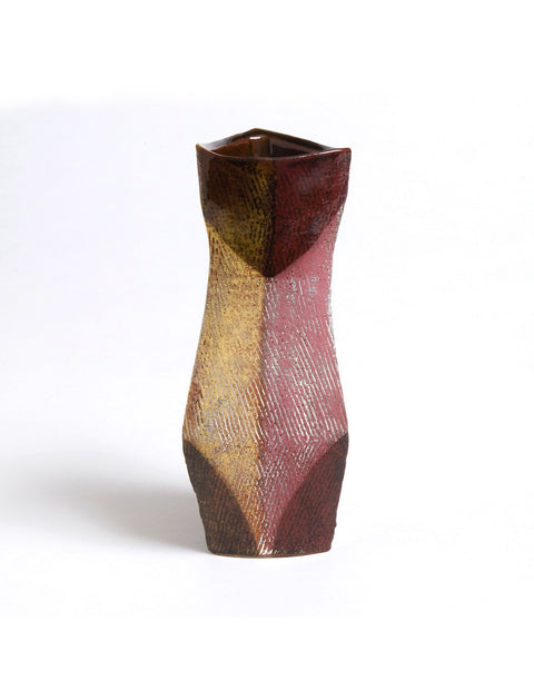 Colorful terracotta vase with terra sigillata slips handmade by Andrew Avakian