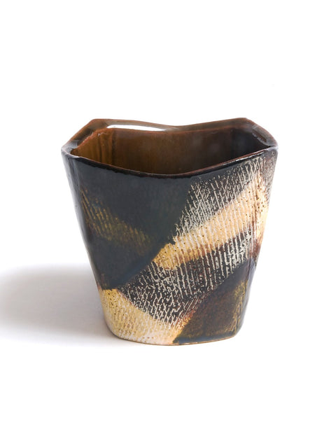 Colorful terracotta cup with terra sigillata slips handmade by Andrew Avakian