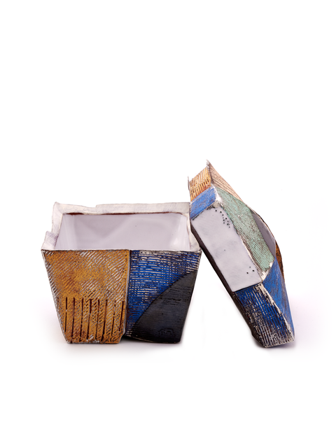 Colorful terracotta lidded box with terra sigillata slips handmade by Andrew Avakian