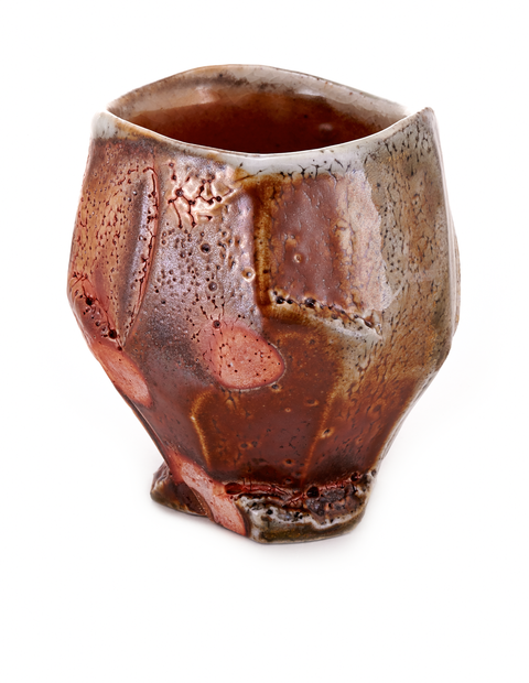 Small wood-fired whiskey cup with atmospheric flashing handmade by Zac Spates.