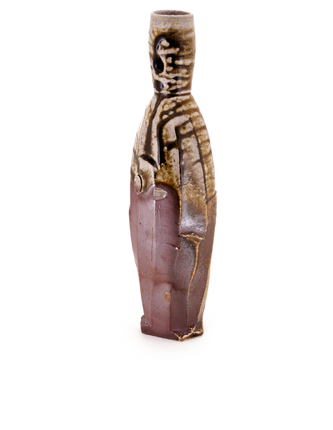 Tall skinny neck bottle with atmospheric flashing and glaze runs handmade by Zac Spates.