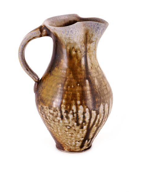 Small wood-fired pitcher with atmospheric flashing handmade by Zac Spates.