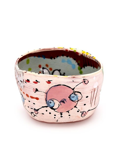 Terra cotta bowl with illustrative surface handmade by artist Carrie Day.