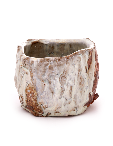 5-day wood-fired teabowl with shino glaze handmade by Lauryn Axelrod