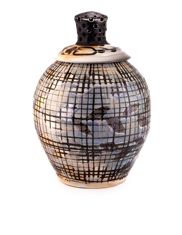 Large wheel thrown jar with pierced finial lid and black manganese surface design handmade by HP Bloomer.