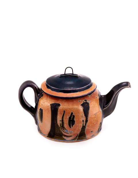 Wheel thrown teapot with black lid and manganese stain patterned surface designs handmade by HP Bloomer.