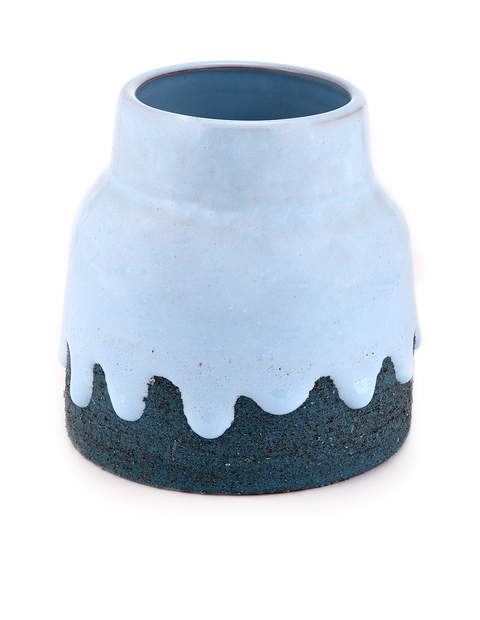 Short blue vase with drippy glaze handmade by Brian Giniewski.