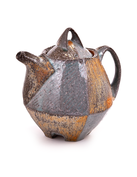 Wheel thrown and altered soda-fired teapot with porcelain slips handmade by Bill Wilkey.
