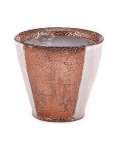 Wheel thrown and altered soda-fired whiskey cup with porcelain slips handmade by Bill Wilkey.