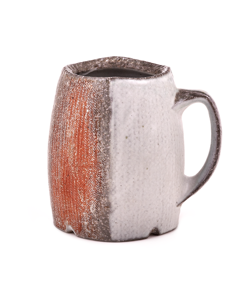 Wheel thrown and altered soda-fired stout mug with porcelain slips handmade by Bill Wilkey.