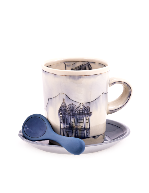 Porcelain mug set with blue mishima drawing of victorian house handmade by Nicole Aquillano. This set inludes the saucer and spoon.