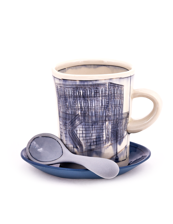 Porcelain mug set with blue mishima drawing of city scape handmade by Nicole Aquillano. This set inludes the saucer and spoon.