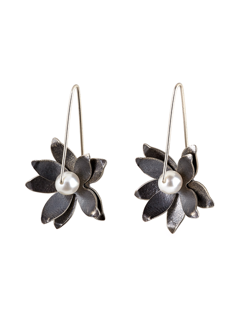 Sterling silver and pearl lotus flower dangle earrings handmade by artist Molly Dingledine.