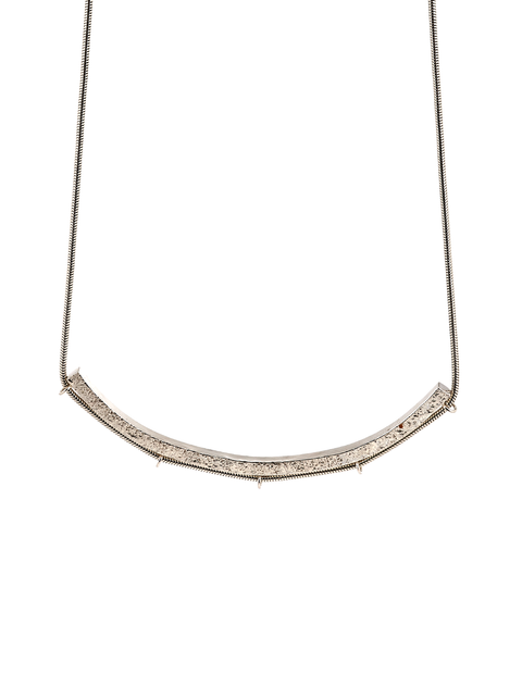 Delicate collar necklace on sterling silver chain handmade by Samantha Skelton.