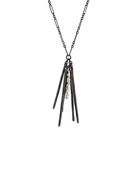 Oxidized sterling silver fringe necklace handmade by Samantha Skelton.