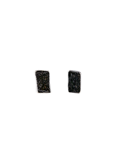 Oxidized sterling silver textured stud earrings handmade by Samantha Skelton.