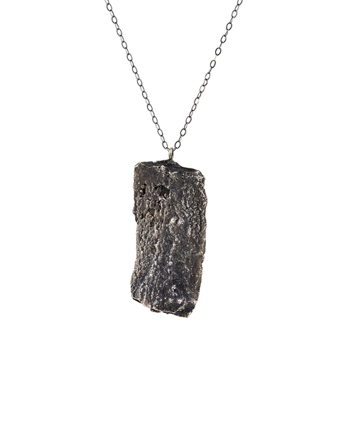 Sterling silver cast bark pendant necklace handmade by artist Collyn Debano.