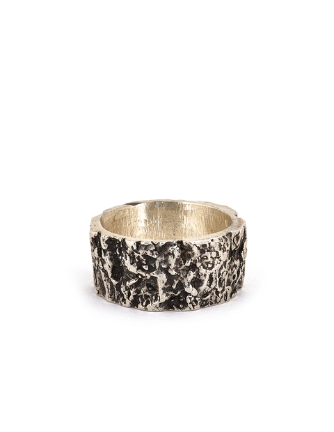Sterling silver wide band bark textured ring handmade by artist Collyn Debano.