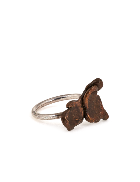 Bronze and sterling silver organic ring handmade by artist Collyn Debano.