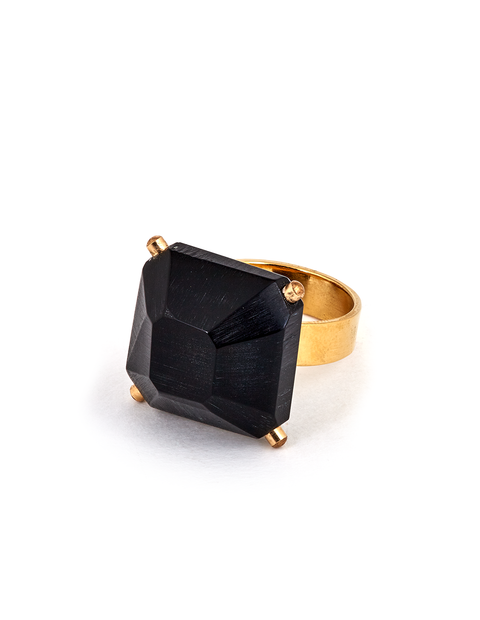 Black acrylic crystal cocktail ring handmade by artist Olivia Shih.