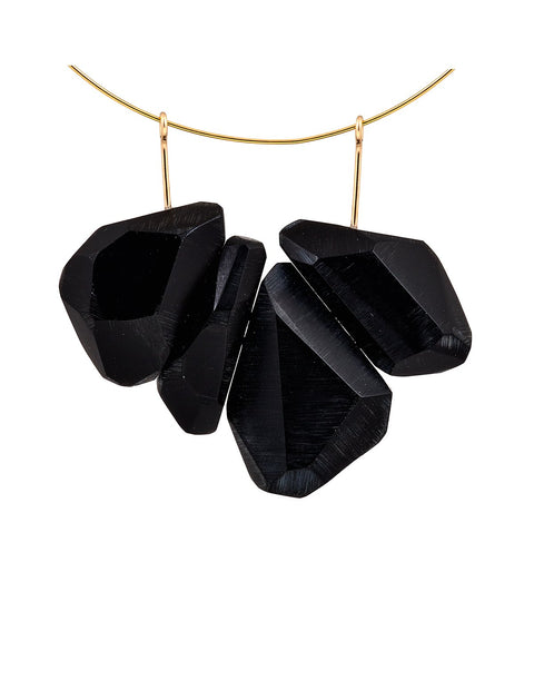 Black acrylic crystal statement necklace handmade by artist Olivia Shih.