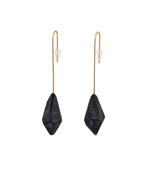 Black acrylic crystal drop dangle earring handmade by artist Olivia Shih.