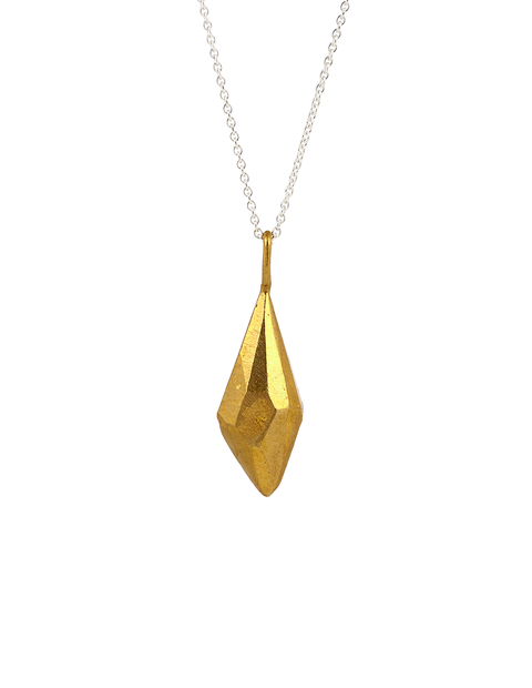 Brass polished acrylic crystal pendant on sterling silver chain handmade by artist Olivia Shih.