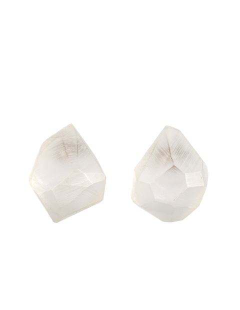 White acrylic crystal post earrings handmade by Olivia Shih.