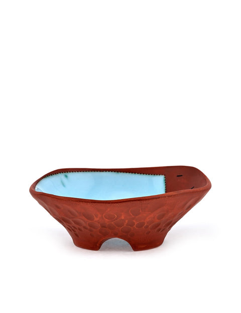 Shallow red stoneware Bowl with Blue Square handmade by Didem Mert