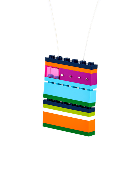 Stacked vibrant colored Legos pendant necklace handmade by Emiko Oye.