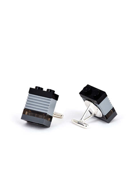 Graphite grey Legos cufflinks handmade by Omiko Oye.